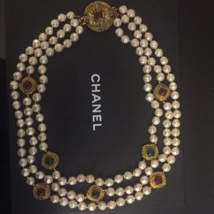 Chanel Multi Strand Gripoix Pearl Necklace